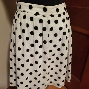 J Crew skirt with white/ black dots
